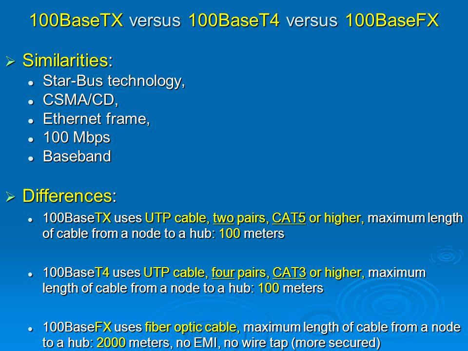 100BaseTX versus 100BaseT4 versus 100BaseFX