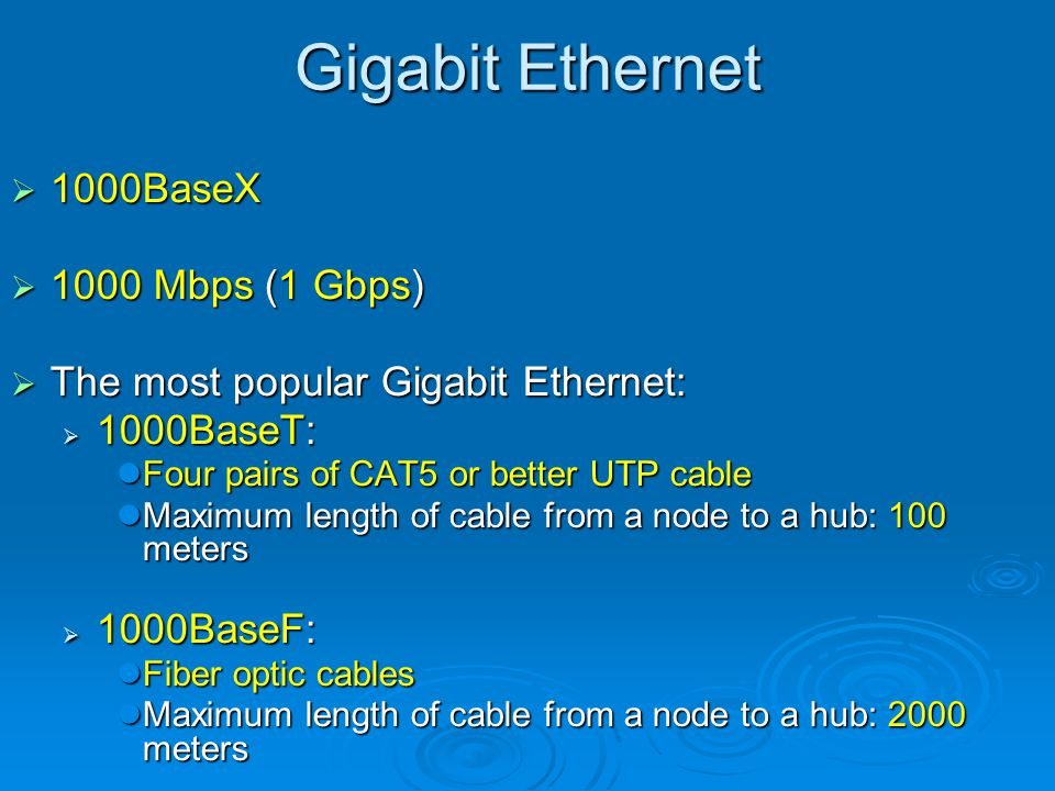 Gigabit Ethernet 1000BaseX 1000 Mbps (1 Gbps)