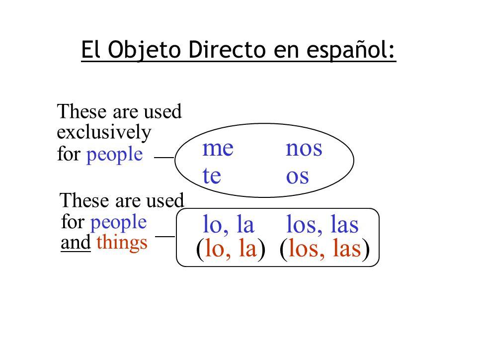 El Objeto Directo en español: