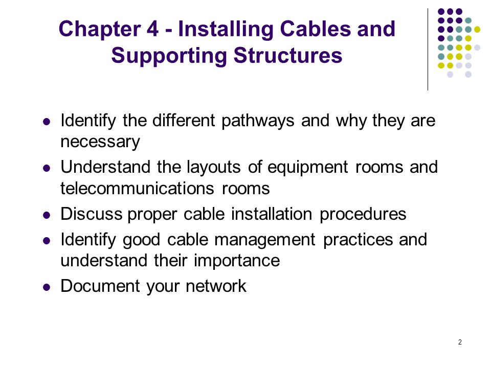 Chapter 4 - Installing Cables and Supporting Structures