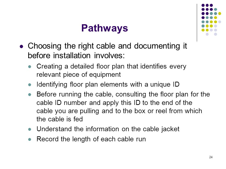 Pathways Choosing the right cable and documenting it before installation involves: