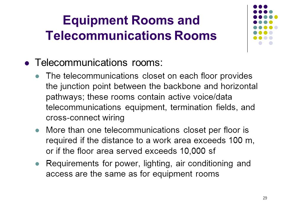 Equipment Rooms and Telecommunications Rooms