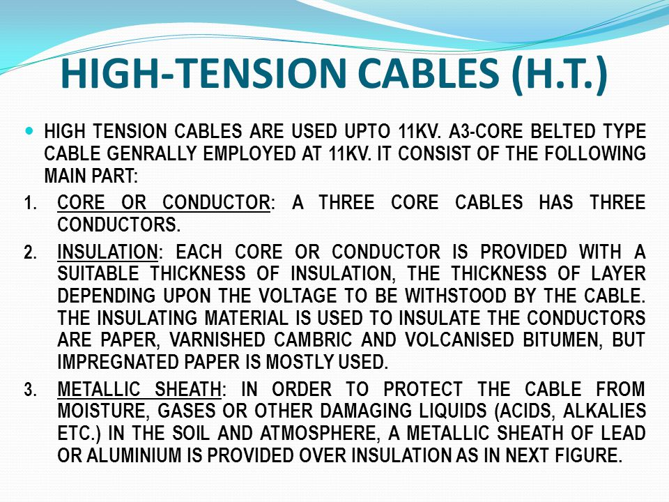 Types Of High Voltage Cables : Presented by mr g p singh m i e chartered engg