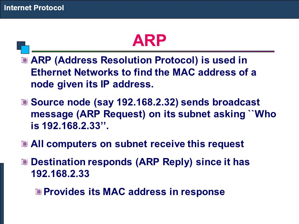 Internet Protocol ARP. ARP (Address Resolution Protocol) is used in Ethernet Networks to find the MAC address of a node given its IP address.