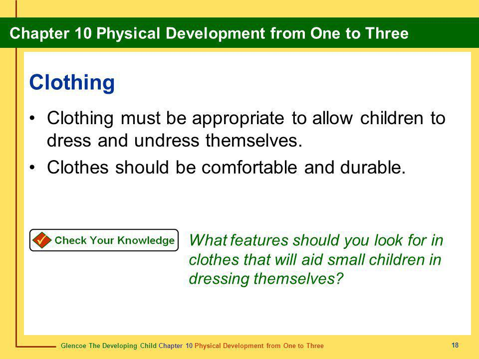 Clothing Clothing must be appropriate to allow children to dress and undress themselves. Clothes should be comfortable and durable.