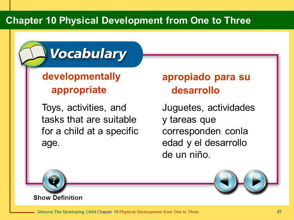 developmentally appropriate apropiado para su desarrollo