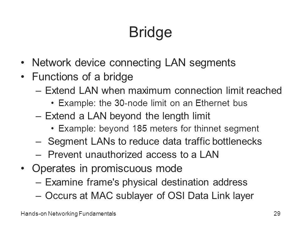 Bridge Network device connecting LAN segments Functions of a bridge