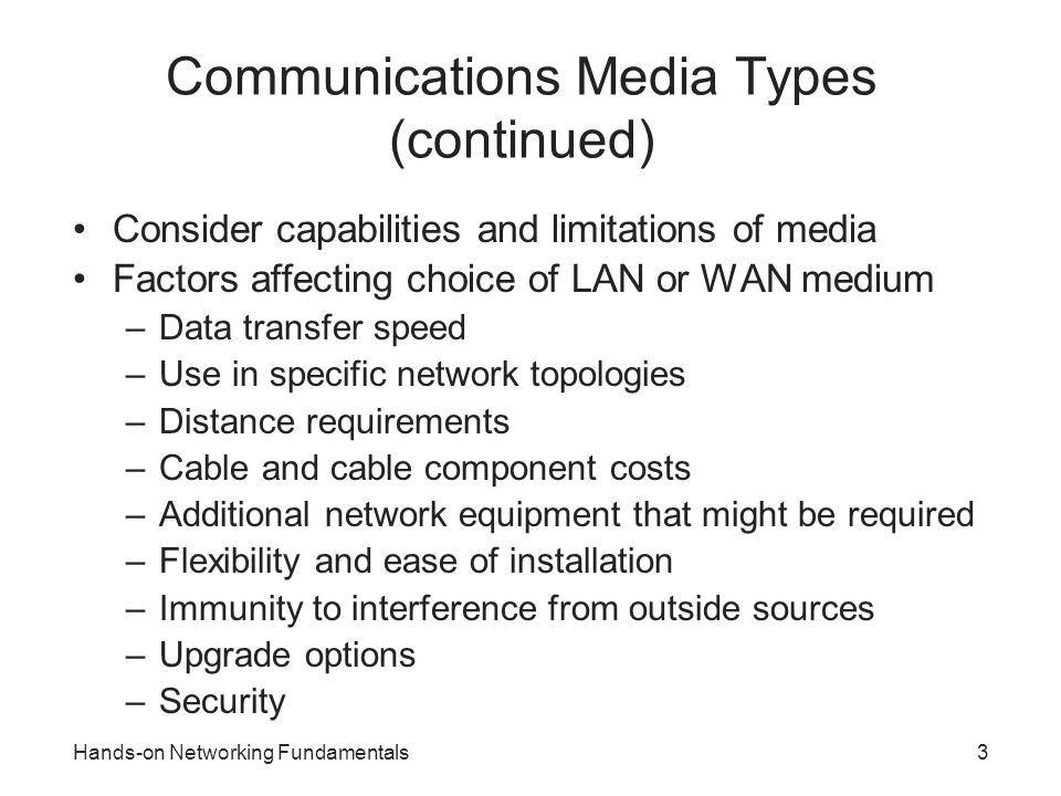 Communications Media Types (continued)