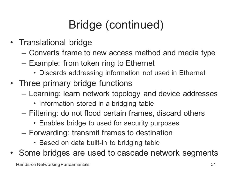 Bridge (continued) Translational bridge Three primary bridge functions