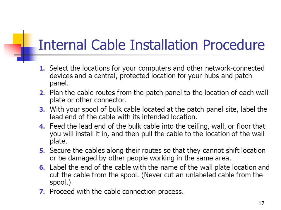Internal Cable Installation Procedure