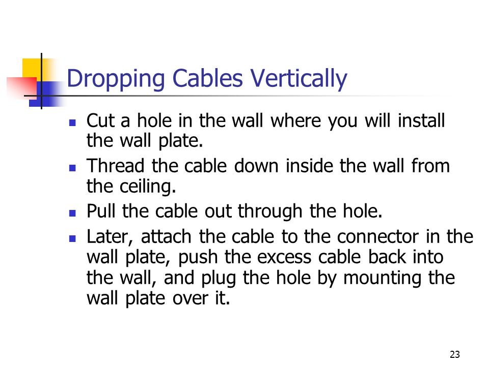 Dropping Cables Vertically