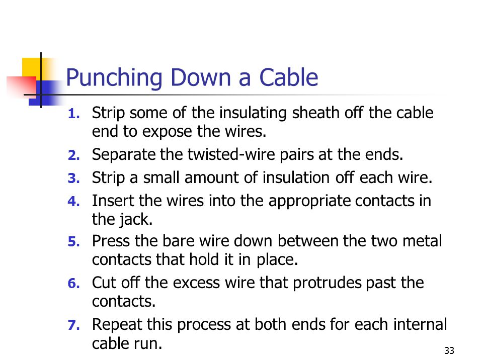 Punching Down a Cable 1. Strip some of the insulating sheath off the cable end to expose the wires.