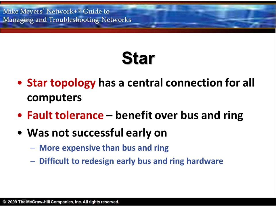 Star Star topology has a central connection for all computers