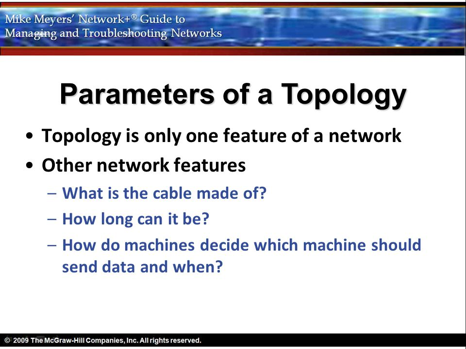 Parameters of a Topology