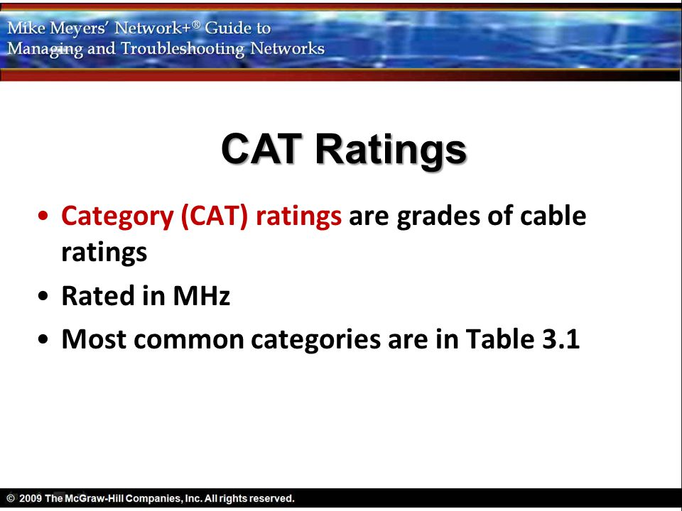 CAT Ratings Category (CAT) ratings are grades of cable ratings