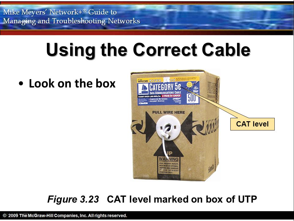 Using the Correct Cable Figure 3.23 CAT level marked on box of UTP