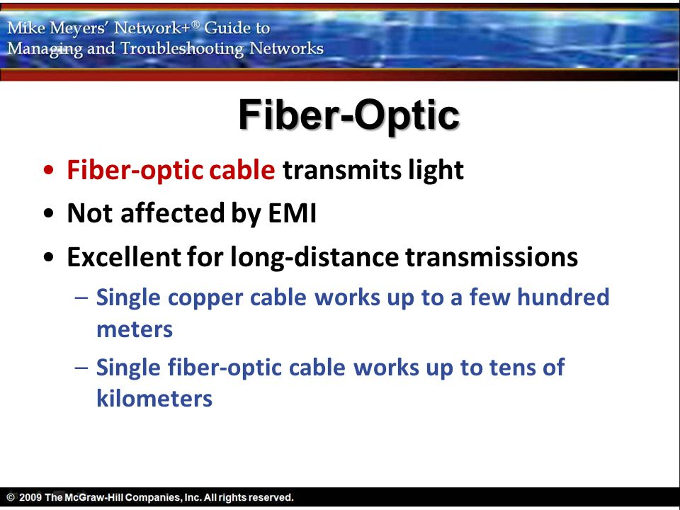 Fiber-Optic Fiber-optic cable transmits light Not affected by EMI
