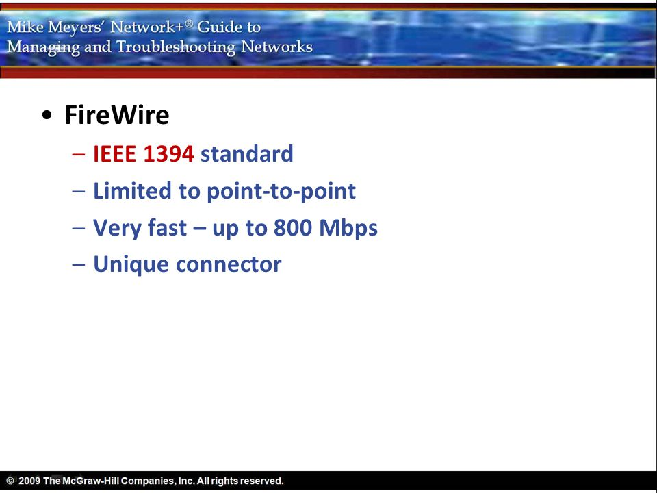 FireWire IEEE 1394 standard Limited to point-to-point