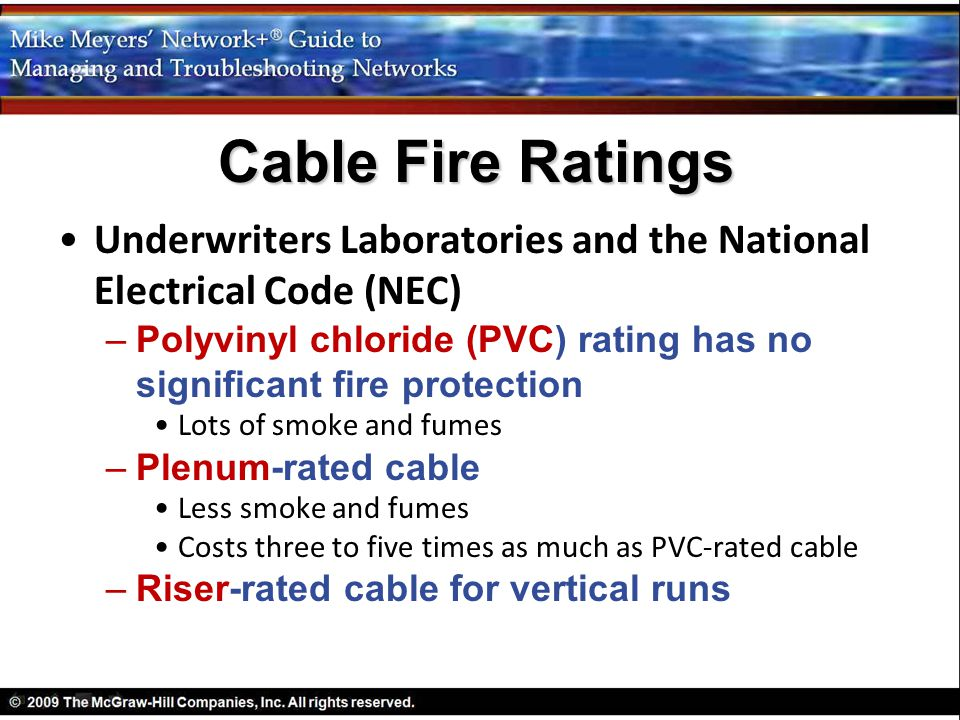 Cable Fire Ratings Underwriters Laboratories and the National Electrical Code (NEC)