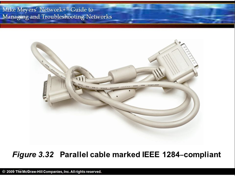 Figure 3.32 Parallel cable marked IEEE 1284–compliant