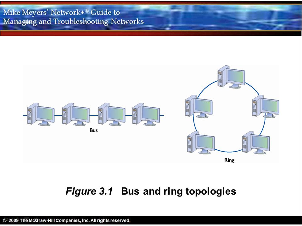 Figure 3.1 Bus and ring topologies