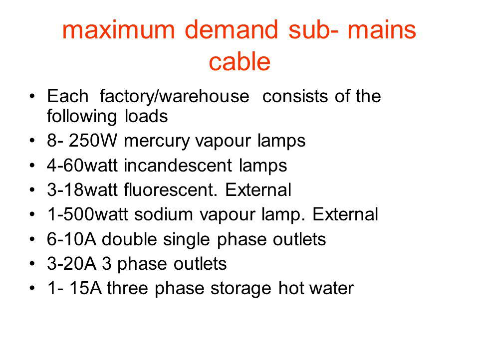 maximum demand sub- mains cable
