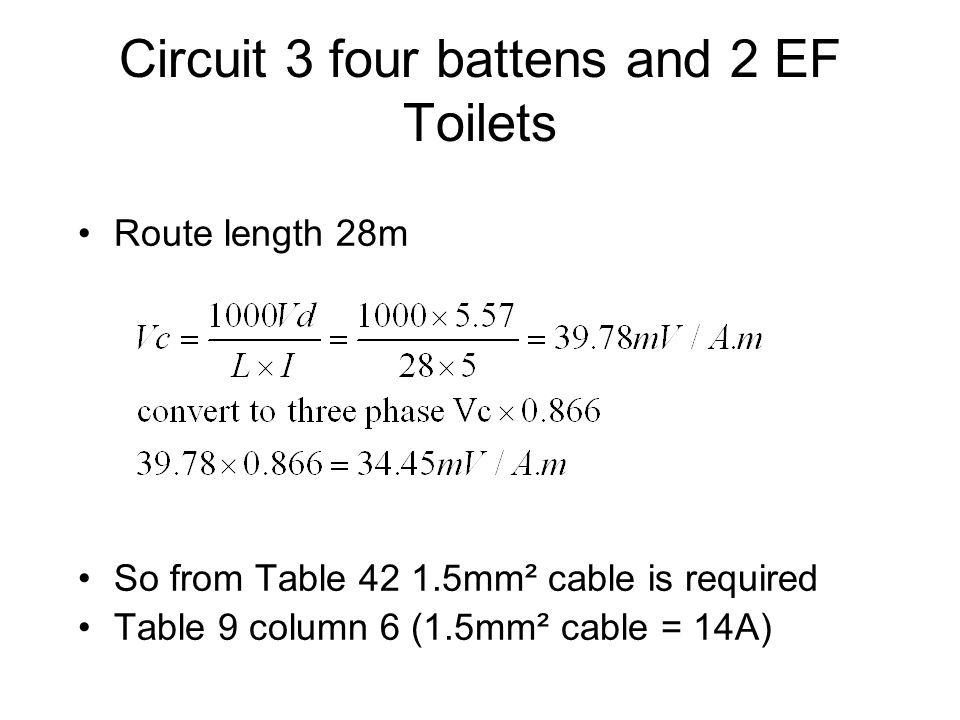 Circuit 3 four battens and 2 EF Toilets