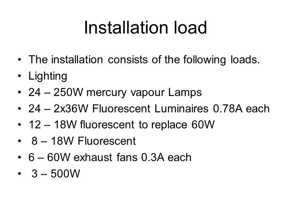 Installation load The installation consists of the following loads.