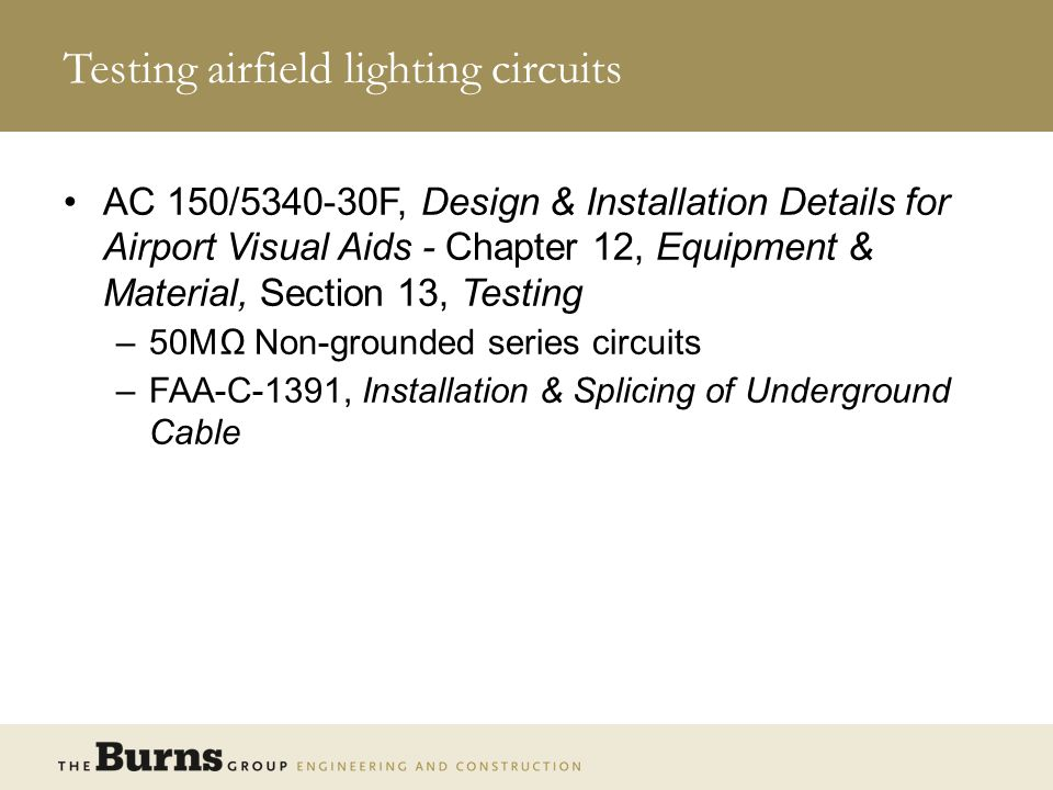 Testing airfield lighting circuits