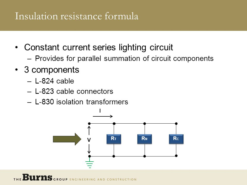 Insulation resistance formula