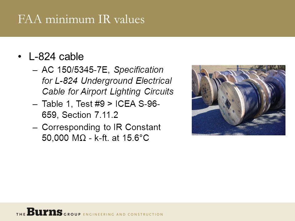 FAA minimum IR values L-824 cable