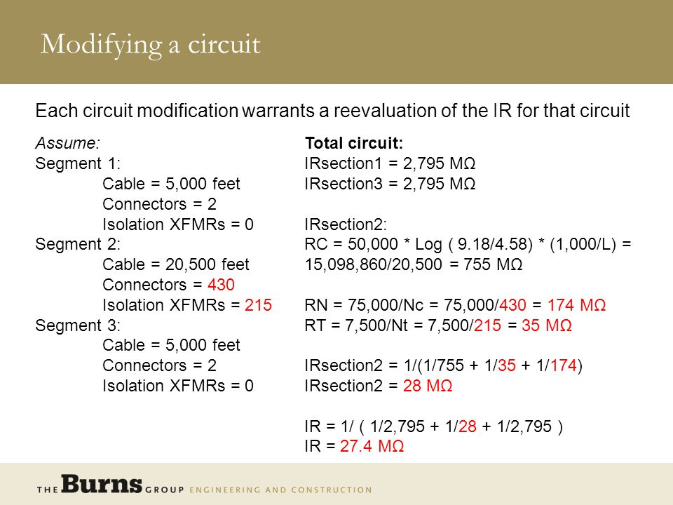 Modifying a circuit Each circuit modification warrants a reevaluation of the IR for that circuit. Assume: