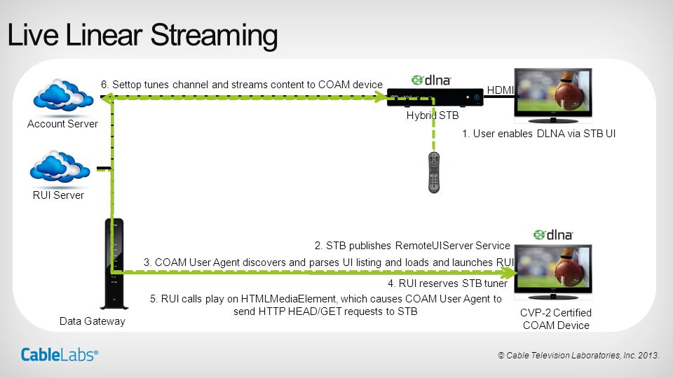 Live Linear Streaming 6. Settop tunes channel and streams content to COAM device. HDMI. Hybrid STB.