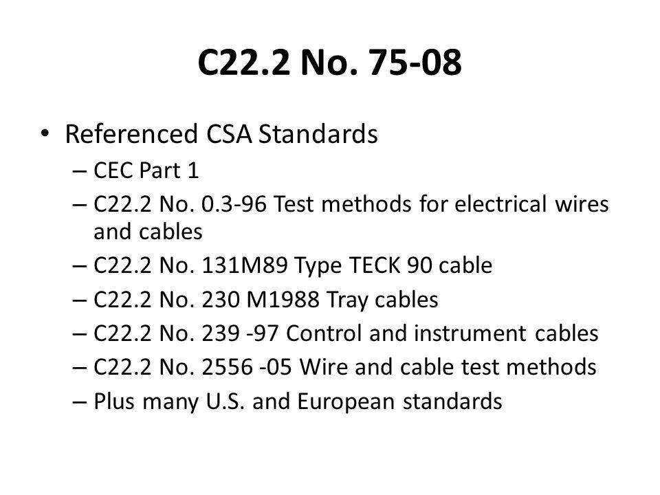 C22.2 No Referenced CSA Standards CEC Part 1