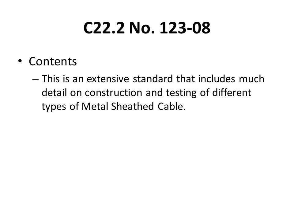C22.2 No. 123-08 Contents.