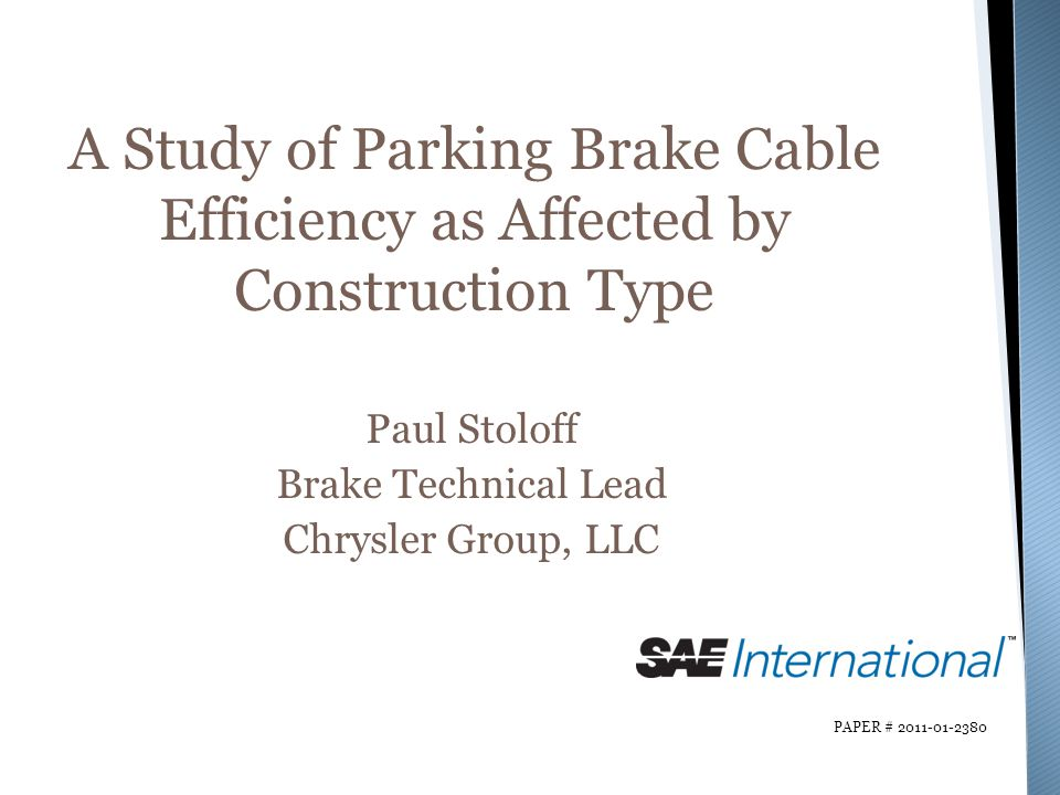 A Study of Parking Brake Cable Efficiency as Affected by Construction Type