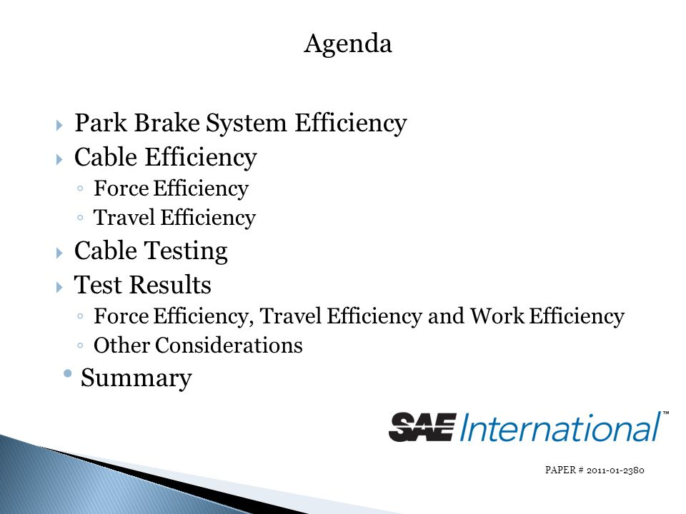 Agenda Park Brake System Efficiency Cable Efficiency Cable Testing