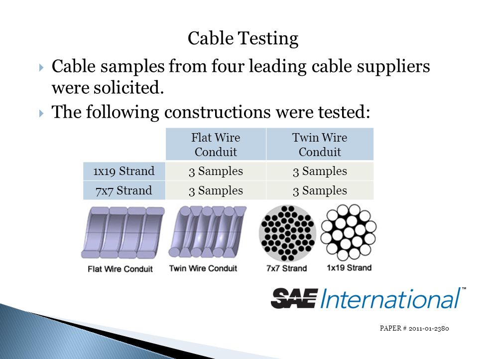 Cable Testing Cable samples from four leading cable suppliers were solicited. The following constructions were tested: