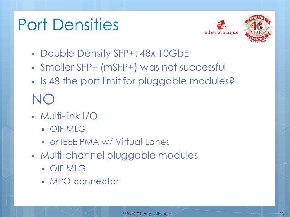 Port Densities NO Double Density SFP+: 48x 10GbE