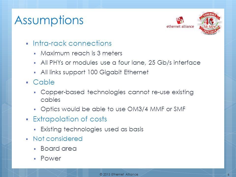 Assumptions Intra-rack connections Cable Extrapolation of costs