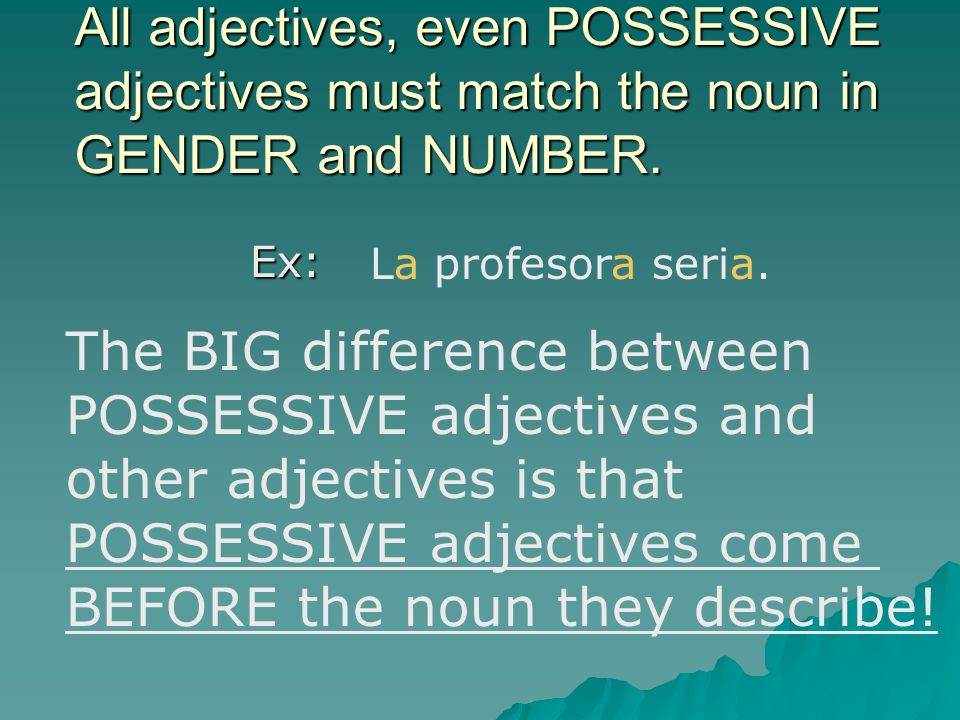 The BIG difference between POSSESSIVE adjectives and