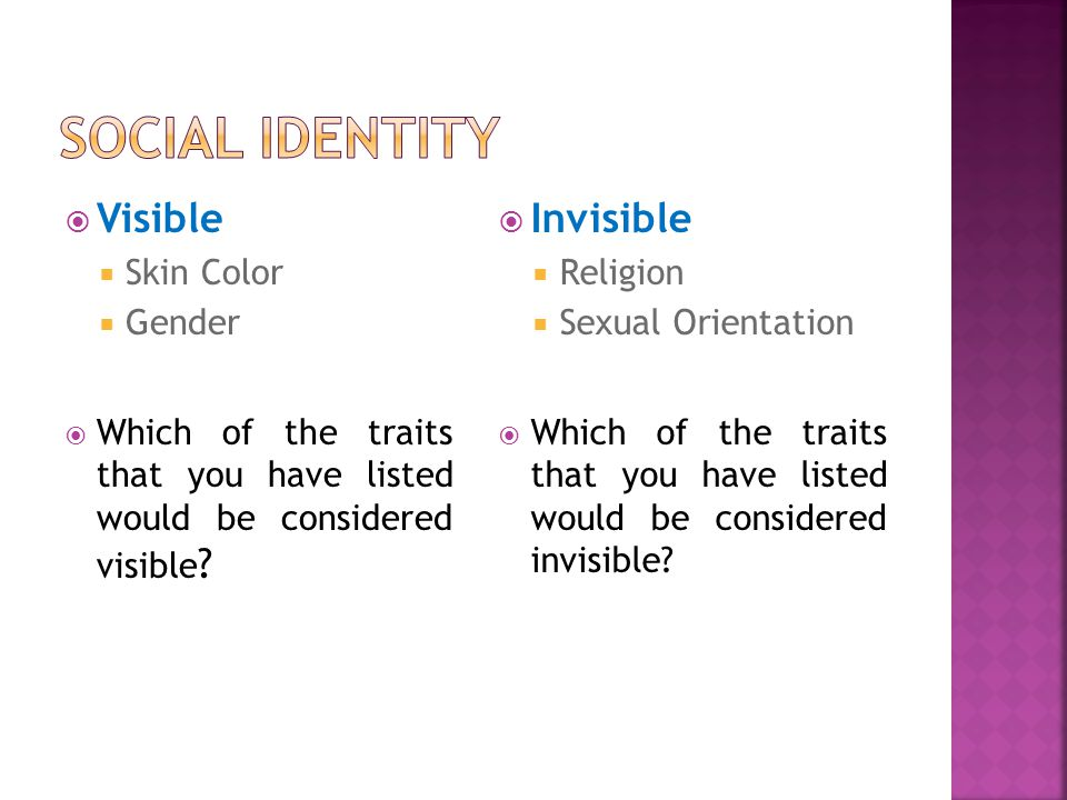 Social Identity Visible Invisible Skin Color Gender