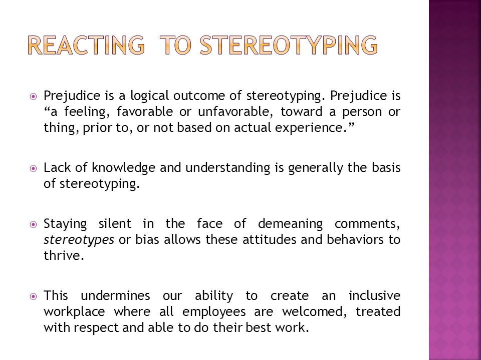 Reacting to Stereotyping