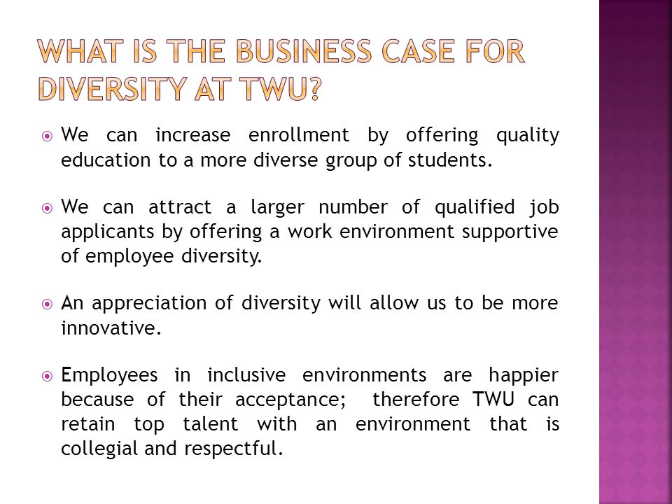 What is the business case for diversity at TWU