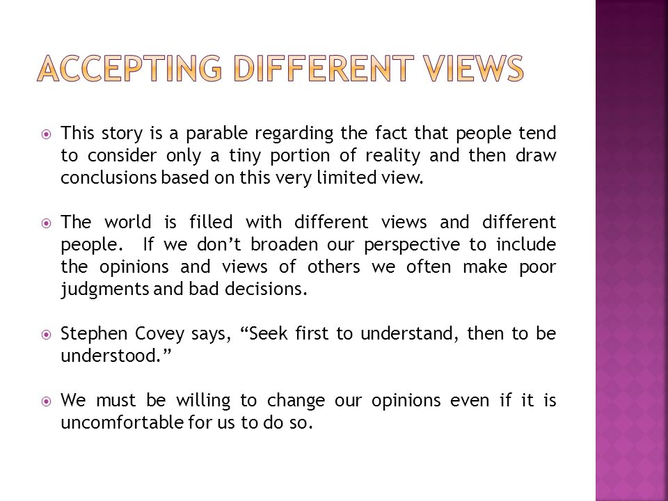 Accepting Different Views
