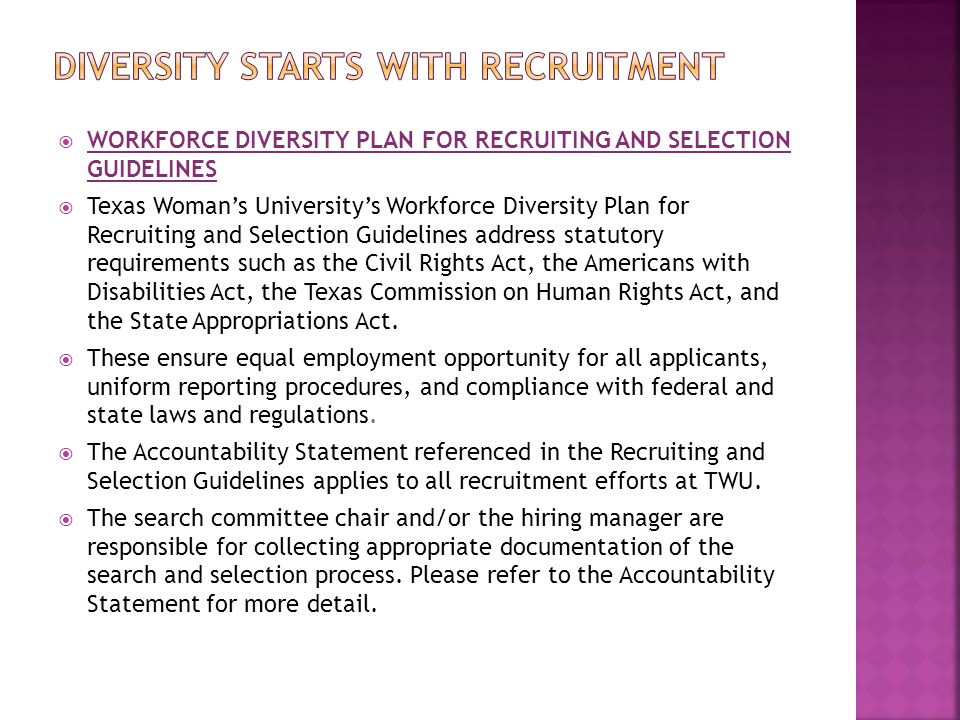 DIVERSITY STARTS WITH RECRUITMENT