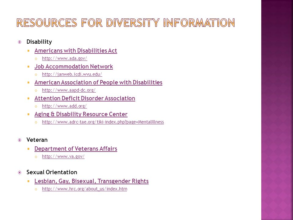 Resources for diversity information