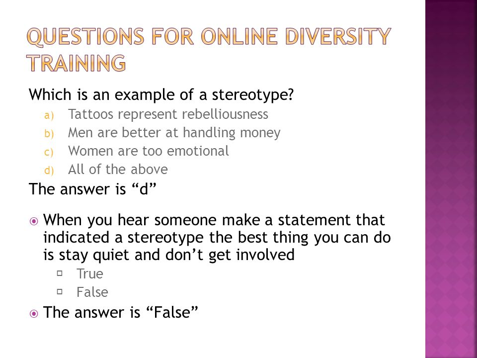 Questions for Online Diversity Training