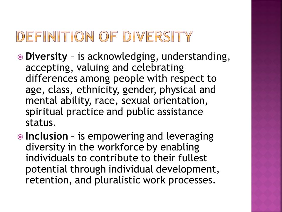 DEFINITION OF DIVERSITY