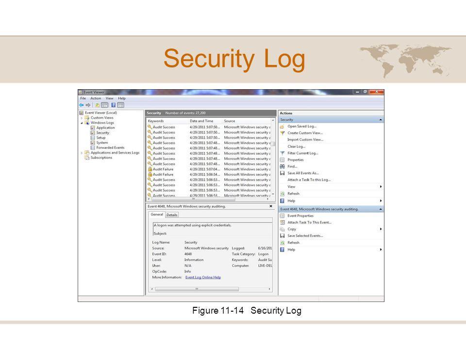 Security Log Figure 11-14 Security Log